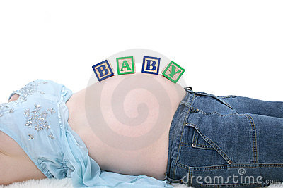 Alphabet Blocks Spell Baby Across Expecting Mom Belly