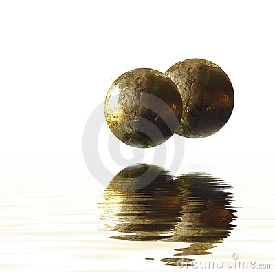 Balls reflecting on water