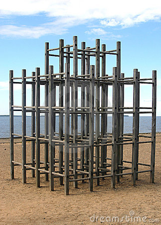 Wooden Jungle Gym on Beach