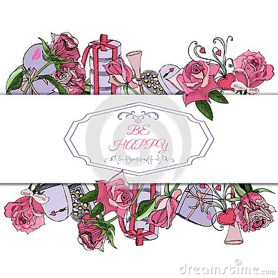 Rectangle composition of hand draw and color sketch of pink rose flowers and leaves, twirls, sweetmeat and other gifts.