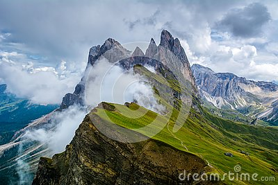 Wonderful landscape of the Dolomites Alps. Odle mountain range, Seceda peak in Dolomites, Italy. Artistic picture. Beauty world