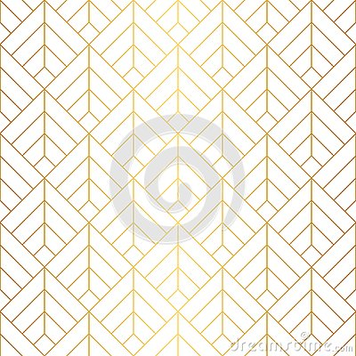 Geometric squares seamless pattern with minimalistic gold lines.