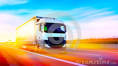stock image of truck on highway . commercial transport . truck transport container .