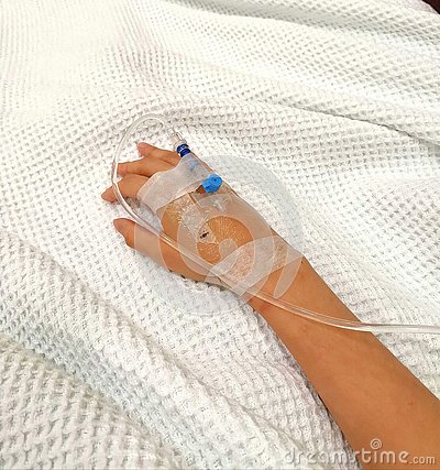 Glucose Drip tube inserted in right hand of sick patient