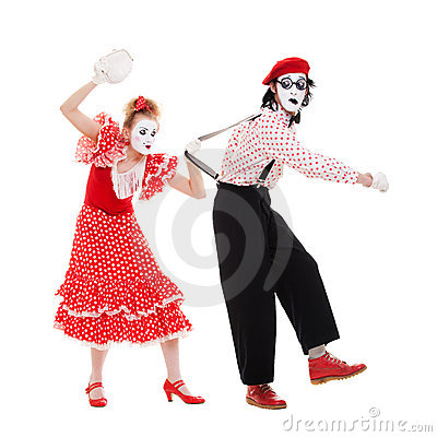 Portrait of mimes. angry woman beating man