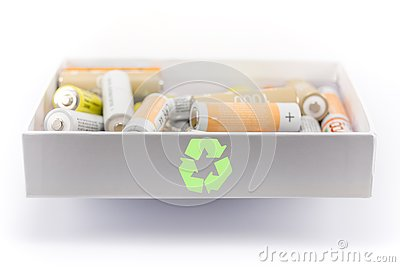 stock image of concept of battery recycling