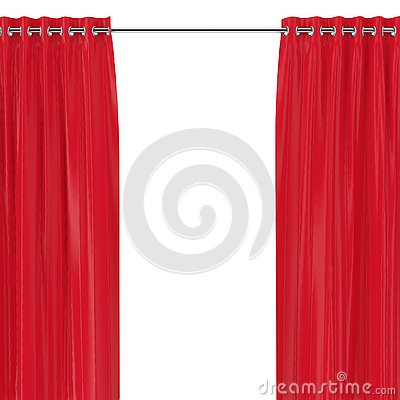 Red Curtains with Eyelets on the Round Ledge. 3d Rendering