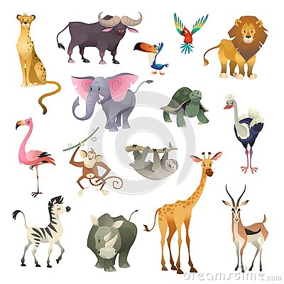stock image of jungle wild animals. savannah forest animal bird safari nature africa tropical exotic forest marine mammals, cartoon set