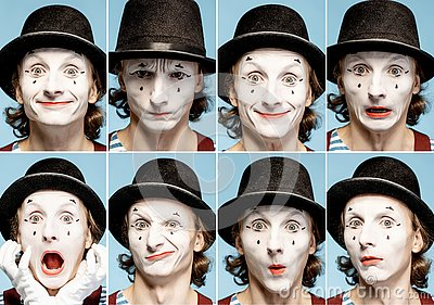 stock image of pantomimes emotions
