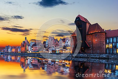 Gdansk sunset above the Motlawa and Zuraw Port Crane, Poland
