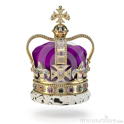 English golden crown with jewels isolated on white. Royal symbol of UK monarchy