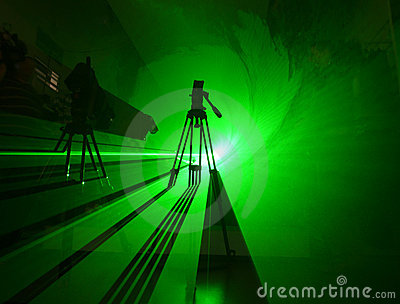 Green shadow in laser light