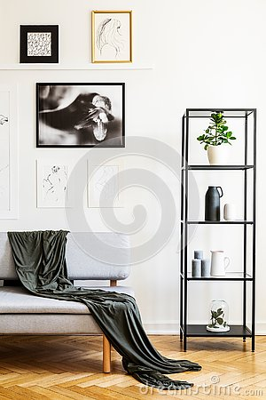 Blanket on grey sofa next to shelves in simple white living room interior with posters. Real photo