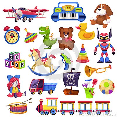 Kids toys set. Toy kid child preschool house baby game ball train yacht horse doll duck boat plane bear car pyramid