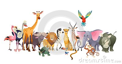stock image of wild animals. safari wildlife africa happy animal lion zebra elephant rhino parrot giraffe ostrich flamingo cute jungle