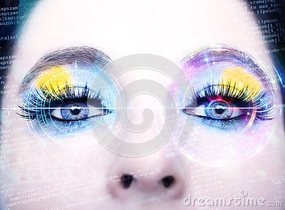 stock image of abstract eye with digital circle. futuristic vision science and identification concept