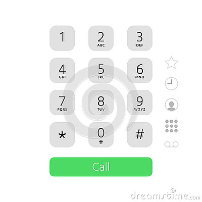 Dial keypad. Touchscreen phone number keyboard interface inspired by apple iphone ios dialer flat vector illustration