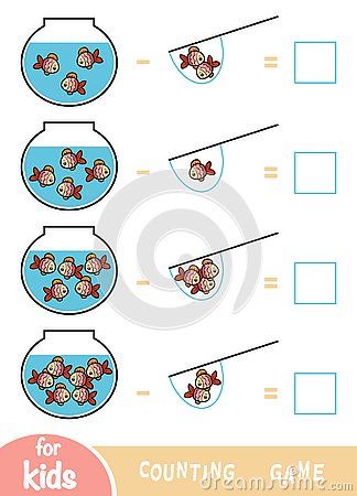 Counting Game for Preschool Children. Subtraction worksheets. Fish and Aquariums