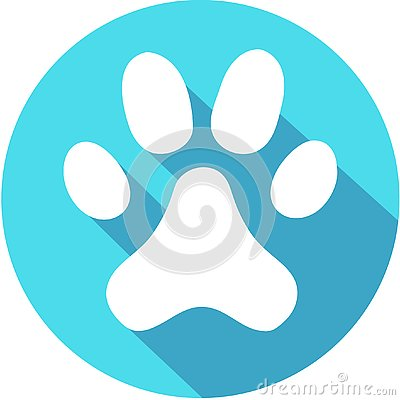Flat white Paw Print web icon with long drop shadow on blue circle
