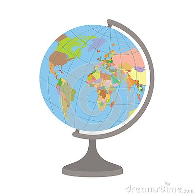 World globe on a stand. Political map of the world. Vector illustration.