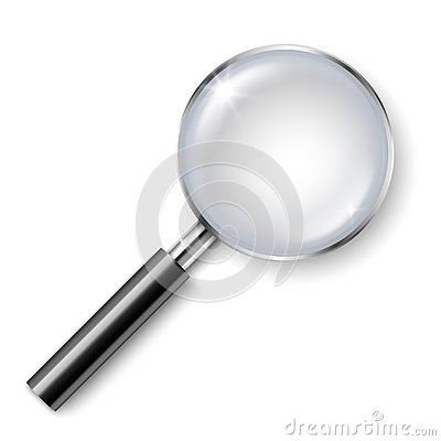 Vector realistic magnifying glass with shadow isolated on white background