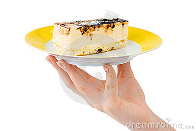 Hand and plate with cake