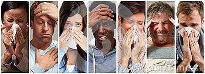 Sick people having flu, cold and sneeze