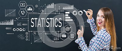 Statistics with young woman