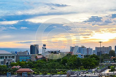 stock image of bangkok is one of the most high-rise buildings in thailand and still adjacent to the chao phraya river
