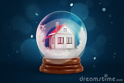 3d rendering of christmas snow globe with house inside on dark blue background