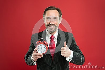 Time to work. Businessman care about time. Time management skills. How much time left till deadline. Manager with alarm