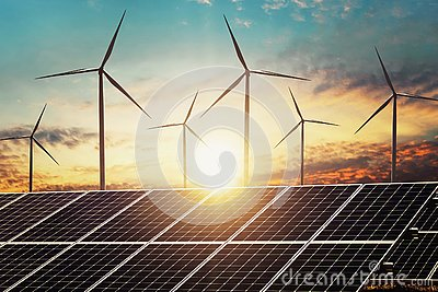 clean energy power concept solar panel with wind turbine and sunset