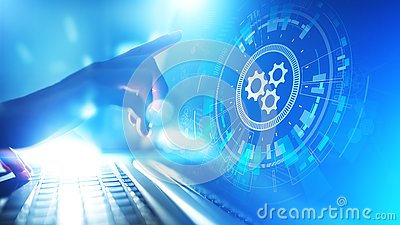Automation, Business and industrial process workflow optimisation, software development concept on virtual screen.