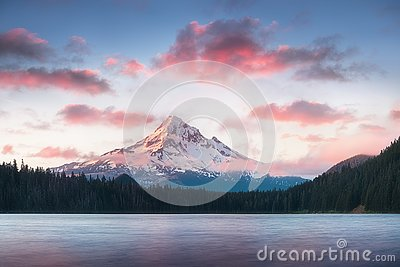 Mount Hood reflecting in Lost Lake at sunrise, in Mount Hood National Forest, Oregon