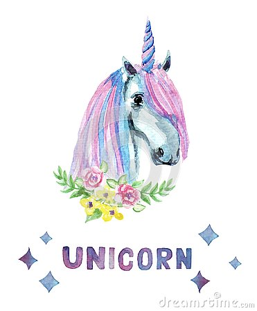 stock image of beautiful, cute, watercolor unicorn head with flowers isolated