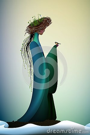 stock image of beautiful spring new look idea, new contemporary spring, spring fantasy icon fantastic spring angel, silhouette of angel