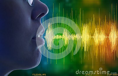 Woman speaking, voice recognition concept