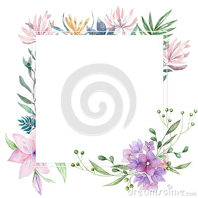 Wedding Invitation, floral invite card, pink flowers and green leafs geometric. Rhombus Rectangle frame. White square background.