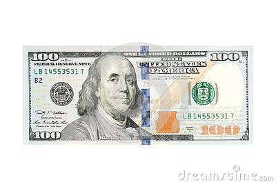 100 American dollar bill cash money isolated on white background. US Dollars 100 banknote