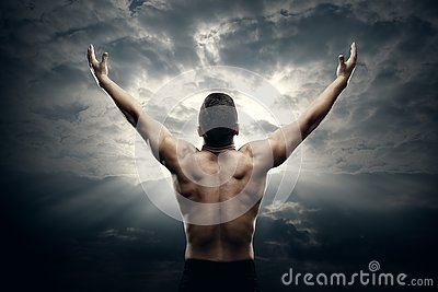Athletic Man Open Arms on Sunrise Sky, Muscular Athlete Body Back View