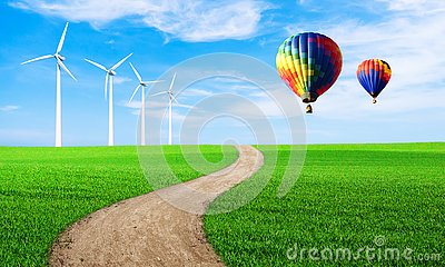 Renewable energy with wind turbines. Wind turbine in green hill. Ecology environmental background for presentations and websites.