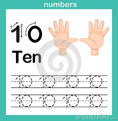 Hand count.finger and number,Number exercise