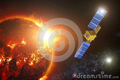 Space exploration satellite to monitor the actinicity of a Sun star. Fixed a powerful flash on the surface of the photosphere with