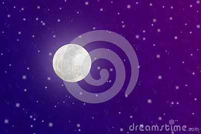 Bright Full Moon and Twinkle Stars in Blue and Purple Night Sky