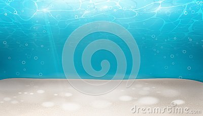 Underwater world nature scene background. Ocean and sea bottom life with blue water, wave lights, bubbles of air, rays