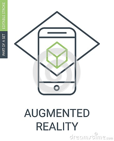 stock image of augmented reality outline icon with editable stroke