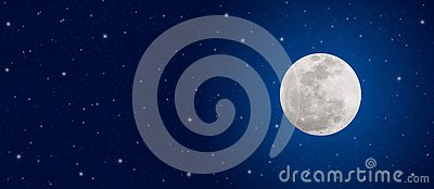 Bright Full Moon and Twinkle Stars in Dark Blue Night Sky Banner