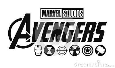 Set of Avengers logo and super heroes icons. Marvel Studios