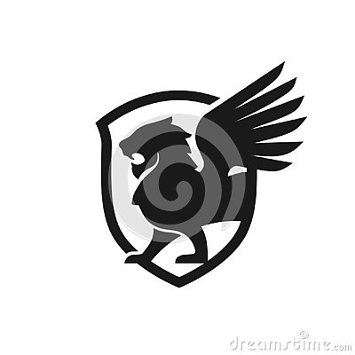 Lion wing and shield vector