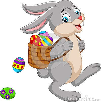 Cartoon Easter Bunny carrying basket of an Easter egg